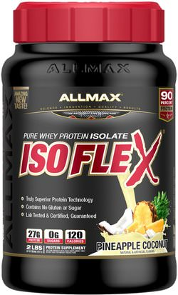 Deportes ALLMAX Nutrition, Isoflex, 100% Ultra-Pure Whey Protein Isolate (WPI Ion-Charged Particle Filtration), Pineapple Coconut, 2 lbs (907 g)