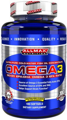 Suplementos, Efa Omega 3 6 9 (Epa Dha), Deportes, Dha, Epa ALLMAX Nutrition, Omega 3, Ultra-Pure Cold-Water Fish Oil Concentrate, 180 Softgels
