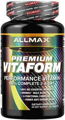 Vitaminas, Hombres Multivitaminas, Deportes ALLMAX Nutrition, Premium Vitaform, Performance Vitamin, 60 Tablets