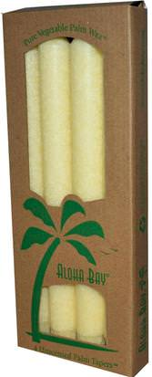 Baño, Belleza, Velas Aloha Bay, Palm Wax Taper Candles, Unscented, Cream, 4 Pack, 9 in (23 cm) Each