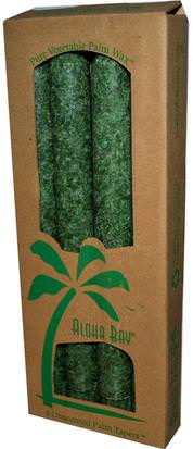 Baño, Belleza, Velas Aloha Bay, Palm Wax Taper Candles, Unscented, Green, 4 Pack, 9 in (23 cm) Each