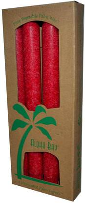 Baño, Belleza, Velas Aloha Bay, Palm Wax Taper Candles, Unscented, Red, 4 Pack, 9 in (23 cm) Each