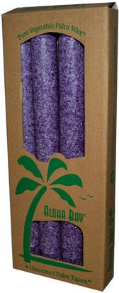 Baño, Belleza, Velas Aloha Bay, Palm Wax Taper Candles, Unscented, Violet, 4 Pack, 9 in (23 cm) Each