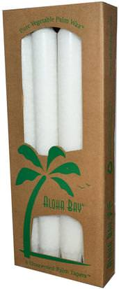Baño, Belleza, Velas Aloha Bay, Palm Wax Taper Candles, Unscented, White, 4 Pack, 9 in (23 cm) Each