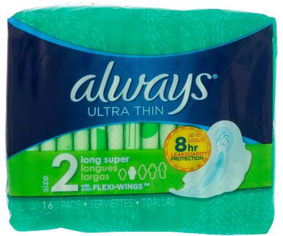 Salud, Mujeres Always, Ultra Thin with Wings, Size 2, Long Super, 16 Pads