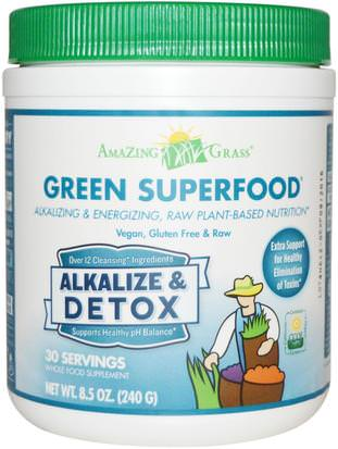Suplementos, Superalimentos, Desintoxicacion Amazing Grass, Green Superfood, Alkalize & Detox, 8.5 oz (240 g)
