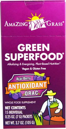 Suplementos, Superalimentos Amazing Grass, Green Superfood, Antioxidant Acai Berry Drink Powder, 15 Individual Packets, 0.25 oz (7 g) Each