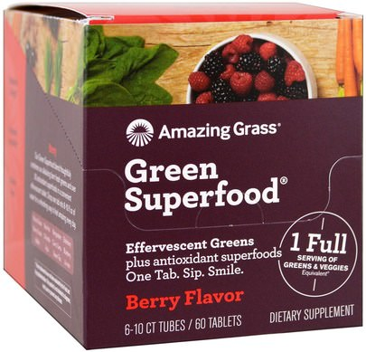 Suplementos, Superalimentos Amazing Grass, Green Superfood, Effervescent Greens, Berry Flavor, 6 Tubes, 10 Tablets Each