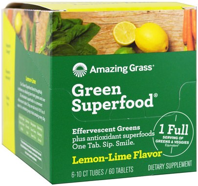 Suplementos, Superalimentos, Verdes Amazing Grass, Green Superfood, Effervescent Greens, Lemon-Lime Flavor, 6 Tubes, 10 Tablets Each