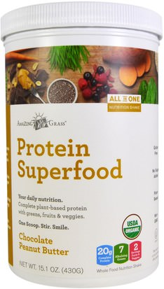 Suplementos, Superalimentos, Proteínas Amazing Grass, Protein Superfood, Chocolate Peanut Butter, 15.1 oz (430 g)
