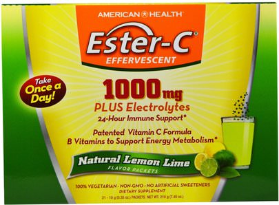 Vitaminas, Vitamina C American Health, Ester-C Effervescent, Natural Lemon Lime Flavor, 1000 mg, 21 Packets, 0.35 oz (10 g) Each