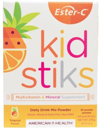 Vitaminas, Vitamina C, Multivitaminas, Niños Multivitaminas American Health, Ester-C Kidstiks, Daily Drink Mix Powder, Tropical Punch Flavor, 30 Powder Packets, 9.2 g (0.32 oz) Each