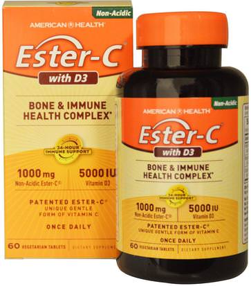 Vitaminas, Vitamina C, Vitamina D3 American Health, Ester-C with D3, Bone and Immune Health Complex, 1000 mg/5000 IU, 60 Veggie Tabs