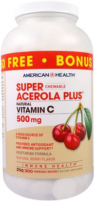 Vitaminas, Vitamina C, Vitamina C Masticable, Vitamina C Acerola American Health, Super Chewable Acerola Plus, Natural Berry Flavor, 500 mg, 300 Chewable Wafers