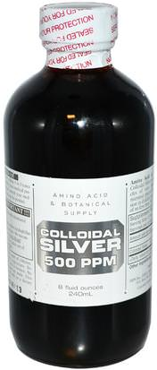 Suplementos, Plata Coloidal Amino Acid & Botanical Supply, Colloidal Silver, 500 ppm, 8 fl oz (240 ml)