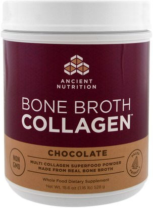 Suplementos, Proteínas, Huesos, Osteoporosis, Colágeno Ancient Nutrition, Bone Broth Collagen, Chocolate, 18.6 oz (528 g)