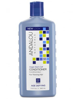 Baño, Belleza, Acondicionador De Argán, Cabello, Cuero Cabelludo, Champú, Acondicionador Andalou Naturals, Conditioner,Age Defying, For Thinning Hair, Argan Stem Cells, 11.5 fl oz (340 ml)