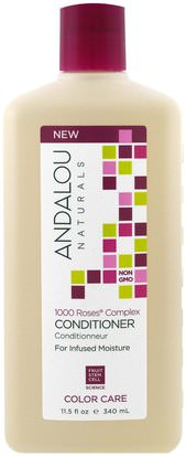 Baño, Belleza, Cabello, Cuero Cabelludo, Champú, Acondicionador Andalou Naturals, Conditioner, Color Care, For Infused Moisture,1000 Roses Complex, 11.5 fl oz (340 ml)