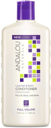 Baño, Belleza, Cabello, Cuero Cabelludo, Champú, Acondicionador, Acondicionadores Andalou Naturals, Conditioner, Full Volume, For Lift, Body, and Shine, Lavender & Biotin, 11.5 fl oz (340 ml)