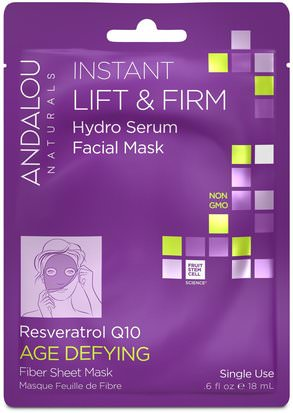Belleza, Máscaras Faciales, Máscaras De Láminas Andalou Naturals, Instant Lift & Firm, Hydro Serum Facial Mask, Age Defying, 1 Single Use Fiber Sheet Mask.6 fl oz (18 ml)