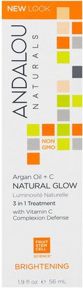 Salud, Sueros De Piel, Baño, Belleza, Cremas Faciales Argan Andalou Naturals, Natural Glow, 3 in 1 Treatment, Argan Oil + C, Brightening, 1.9 fl oz (56 ml)