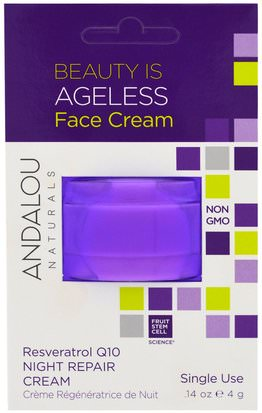 Salud, Piel, Cremas De Noche, Vitamina C Andalou Naturals, Night Repair Cream, Resveratrol Q10, Single Use.14 oz (4 g)