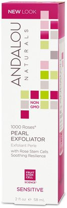 Belleza, Exfoliantes Faciales Andalou Naturals, Pearl Exfoliator, Sensitive, 1000 Roses, 2 fl oz (58 ml)