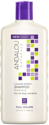 Baño, Belleza, Cabello, Cuero Cabelludo, Champú, Acondicionador Andalou Naturals, Shampoo, Full Volume, For Lift, Body, and Shine, Lavender & Biotin, 11.5 fl oz (340 ml)