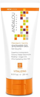 Baño, Belleza, Baño De Argan, Gel De Ducha Andalou Naturals, Shower Gel, Mandarin Vanilla, Vitalizing, 8.5 fl oz (251 ml)