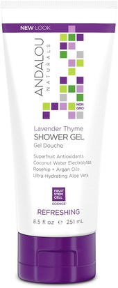 Baño, Belleza, Baño De Argan, Gel De Ducha Andalou Naturals, Shower Gel, Refreshing, Lavender Thyme, 8.5 fl oz (251 ml)