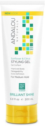 Baño, Belleza, Gel Para El Cabello Andalou Naturals, Styling Gel, Brilliant Shine, Medium Hold, Sunflower & Citrus, 6.8 fl oz (200 ml)