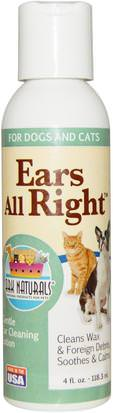 Cuidado De Mascotas, Mascotas Perros, Condición Específica Para Mascotas Ark Naturals, Ears All Right, Gentle Ear Cleaning Lotion, For Dogs & Cats, 4 fl oz (118.3 ml)