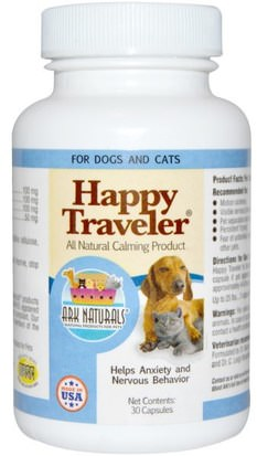 Hierbas, St. Johns Wort, Mascotas Perros Ark Naturals, Happy Traveler, All Natural Calming Product, For Dogs & Cats, 30 Capsules