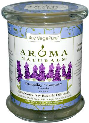 Baño, Belleza, Velas Aroma Naturals, 100% Natural Soy Essential Oil Candle, Tranquility, Lavender, 8.8 oz (260 g)