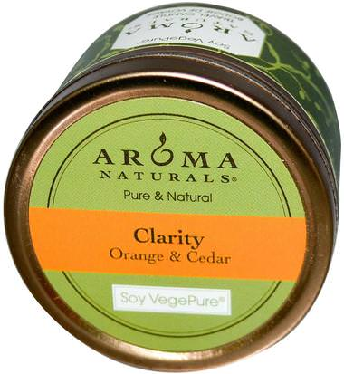 Baño, Belleza, Velas Aroma Naturals, Soy VegePure, Clarity, Travel Candle, Orange & Cedar, 2.8 oz (79.38 g)