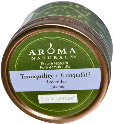 Baño, Belleza, Velas Aroma Naturals, Soy VegePure, Tranquility, Travel Candle, Lavender, 2.8 oz (79.38 g)
