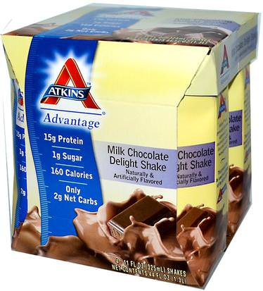 Salud, Dieet Atkins, Advantage, Milk Chocolate Delight Shake, 4 Shakes, 11 fl oz (325 ml) Each