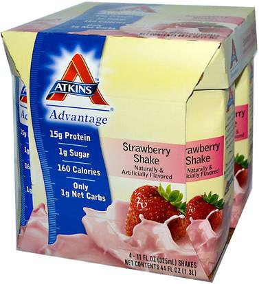 Dieet Atkins, Advantage, Strawberry Shake, 4 Shakes, 11 fl oz (325 ml) Each