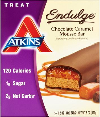 Comida, Bocadillos, Refrigerios Saludables, Atkins Endulge Atkins, Endulge, Chocolate Caramel Mousse Bar, 5 Bars, 1.2 oz (34 g) Per Bar