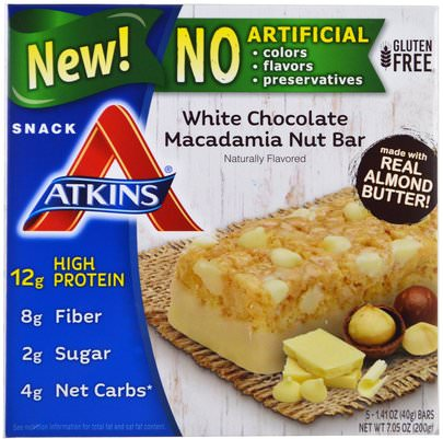 Suplementos, Barras Nutricionales Atkins, White Chocolate Macadamia Nut Bar, 5 Bars, 1.41 oz (40 g) Each