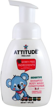 Baño, Belleza, Champú, Champú Para Niños, Acondicionadores, Acondicionadores Para Niños ATTITUDE, Little Ones, 3 in 1 Shampoo, Body Wash, Conditioner, Fragrance Free, 10 fl oz (300 ml)