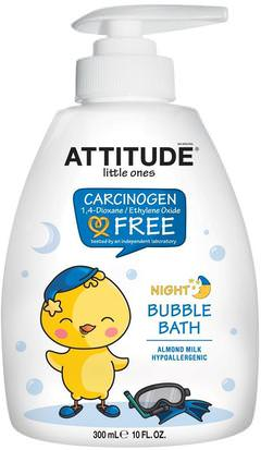Baño, Belleza, Baño De Burbujas, Baño De Burbujas Para Niños ATTITUDE, Little Ones, Night Bubble Bath, Almond Milk, 10 fl oz (300 ml)