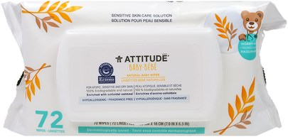 Salud De Los Niños, Cambio De Pañales, Toallitas Para Bebés ATTITUDE, Sensitive Skin Care, Baby, Natural Baby Wipes, Fragrance Free, 72 Wipes