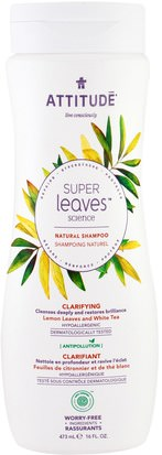 Baño, Belleza, Cabello, Cuero Cabelludo, Champú, Acondicionador ATTITUDE, Super Leaves Science, Natural Shampoo, Clarifying, Lemon Leaves and White Tea, 16 oz (473 ml)