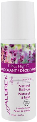 Baño, Belleza, Desodorante, Desodorante Roll-On Aubrey Organics, E Plus High C, Natural Roll-On Deodorant, Lavender Scent, 3 fl oz (89 ml)