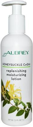 Salud, Piel, Loción Corporal Aubrey Organics, Replenishing Moisturizing Lotion, Honeysuckle-CoQ10, 8 fl oz (237 ml)
