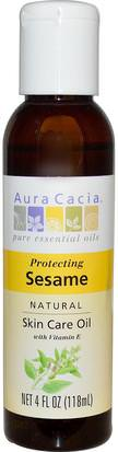 Salud, Piel, Aceite De Masaje Aura Cacia, Natural Skin Care Oil, Protecting Sesame, 4 fl oz (118 ml)