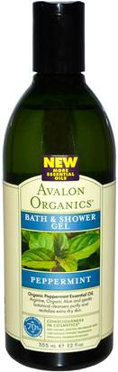 Baño, Belleza, Gel De Ducha Avalon Organics, Bath & Shower Gel, Peppermint, 12 fl oz (355 ml)