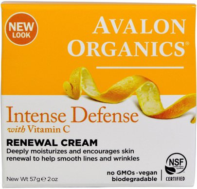 Belleza, Cuidado Facial, Lociones Cremas, Sueros Avalon Organics, Intense Defense, With Vitamin C, Renewal Cream, 2 oz (57 g)