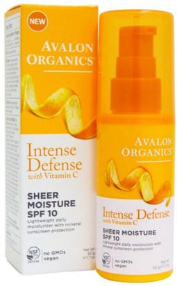 Belleza, Cuidado Facial, Cremas, Lociones, Cuidado Facial Avalon Organics, Intense Defense, With Vitamin C, Sheer Moisture, SPF 10, 1.7 oz (50 g)